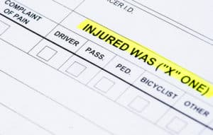 The injured section on a traffic collision report.